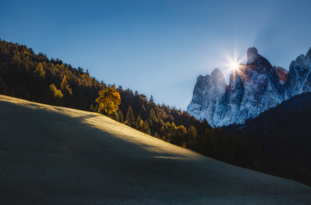 Photo for Morning in St. Magdalena village. Picturesque and gorgeous scene. Location place Funes Valley (Villnob), Odle Group range, Dolomiti. Province of Bolzano - South Tyrol, Italy. Europe. Beauty world. - Royalty Free Image