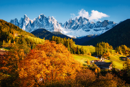 Photo for Misty morning in Santa Magdalena village. Picturesque and gorgeous scene. Location famous place Val di Funes, Trentino Alto Adige, Odle Group, Dolomites Alp. Bolzano, South Tyrol, Italy. Beauty world. - Royalty Free Image