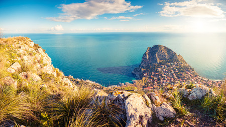 Foto de Fantastic view of the azure water on a sunny day. Picturesque and gorgeous scene. Location place Island Sicilia, Zafferano cape, Palermo sity. Italy, Europe. Drone photography. Beauty world. - Imagen libre de derechos