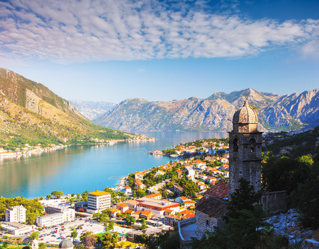 Photo pour Great view of Kotor bay (Boka Kotorska) in sunny day. Picturesque and gorgeous scene. Location place famous resort Montenegro, Balkans, Europe. Popular tourist attraction. Explore the world's beauty. - image libre de droit