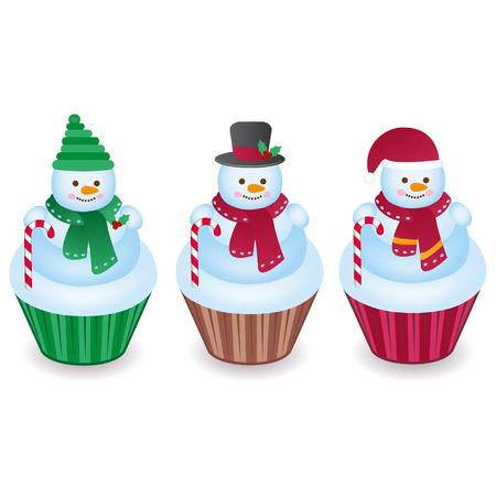 Illustration pour Cute snowman cupcakes isolated on a white background - image libre de droit