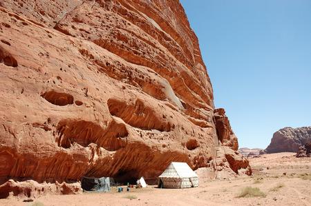 Ascetic Bedouin tent in Wadi Rum desert, Jordan