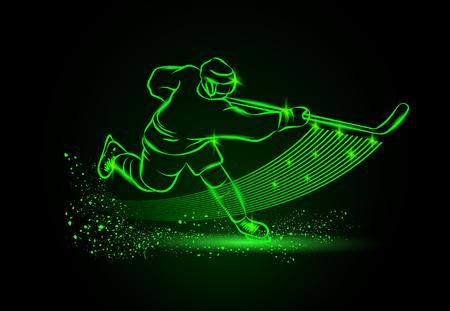 Illustration pour hockey player, Neon sport background - image libre de droit