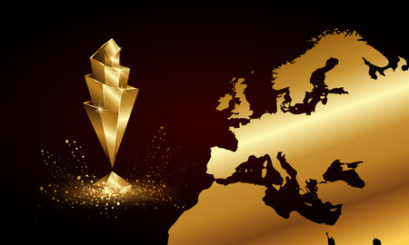 Illustration pour Golden Low Poly Nations League Cup Banner. Abstract Polygonal 3D Sports Trophy and Europe Map Background. - image libre de droit