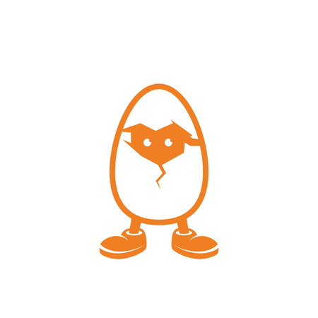 Illustration pour Chicken in the egg looks through the crack in the shell. - image libre de droit