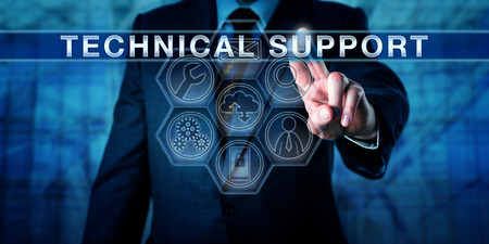 Foto de Manager is pressing TECHNICAL SUPPORT on an interactive touch screen monitor. Business metaphor for customer experience management, outsourcing and managed services. IT concept for tech help desk. - Imagen libre de derechos