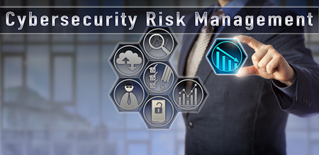 Photo pour Blue chip risk manager or general counsel is evaluating network vulnerabilities in a Cybersecurity Risk Management planning matrix. Computer security concept and cyber threat risk analysis metaphor. - image libre de droit