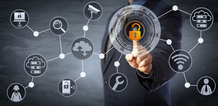 Photo pour Blue chip manager is unlocking a virtual locking mechanism to access shared cloud resources. Internet concept for identity & access management, cloud storage, cybersecurity and managed services. - image libre de droit