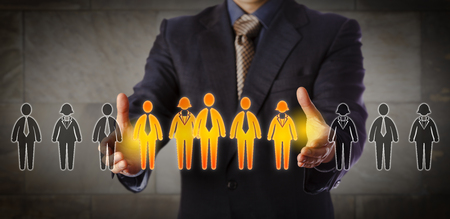 Foto de Blue chip recruitment manager selecting a group of five employees in a lineup of worker icons. Business concept for team building, customer segmentation and management succession. Wide composition. - Imagen libre de derechos