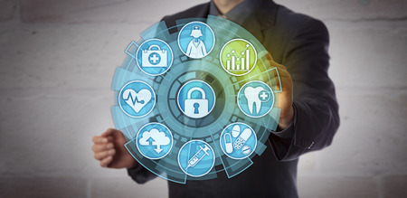 Foto de Faceless data analyst activating an analytics icon in a health care monitoring interface. Concept for actionable insight, reporting requirements, compliance and improvement in healthcare sector. - Imagen libre de derechos