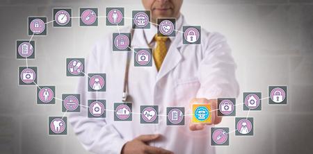 Photo pour Unrecognizable male physician is highlighting a data block record in a healthcare blockchain. - image libre de droit