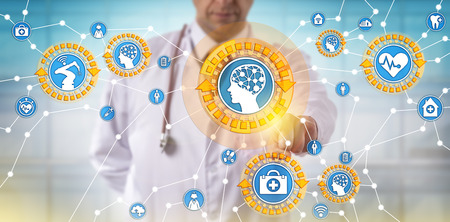 Foto de Unrecognizable male doctor of medicine is activating medical things via the internet. Health care IT concept for artificial intelligence, internet of things, machine learning and autonomous robot. - Imagen libre de derechos
