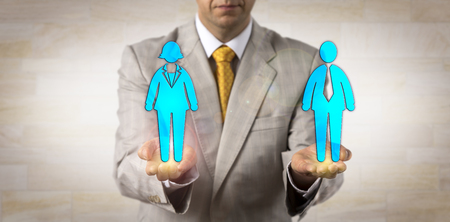 Foto de Unrecognizable recruiter balancing out one male worker on a par with one female in the open palms of his hands. Human resources concept, equal opportunity, gender equality, diversity, emancipation. - Imagen libre de derechos