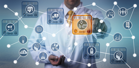Photo pour Unrecognizable pharmaceutical logistician using internet of things solution based on blockchain technology to secure data integrity of drug supply chain. - image libre de droit