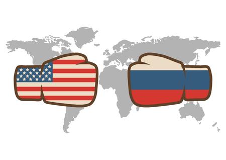 Ilustración de Conflict between USA and Russia, male fists - governments conflict concept - Imagen libre de derechos