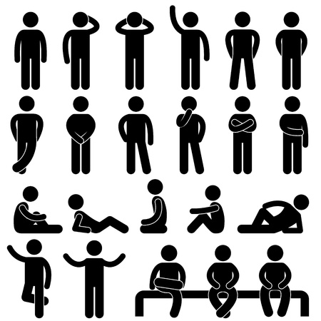 Photo for Man Basic Posture People Icon Sign Symbol Pictogram - Royalty Free Image