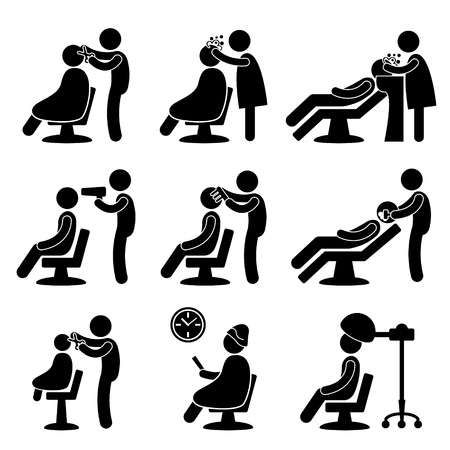 Illustration for Barber Hair Salon Hairdresser Icon Symbol Sign Pictogram - Royalty Free Image