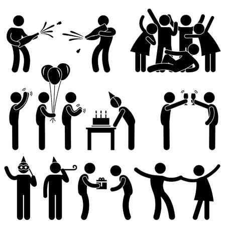Friend Party Celebration Birthday Icon Symbol Sign Pictogram