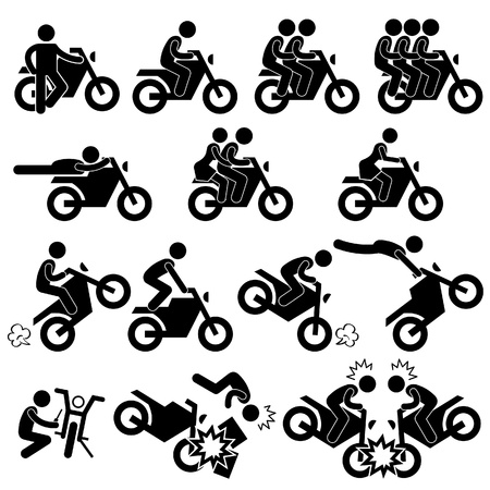Motorcycle Motorbike Motor Bike Stunt Man Daredevil People Stick Figure Pictogram Icon