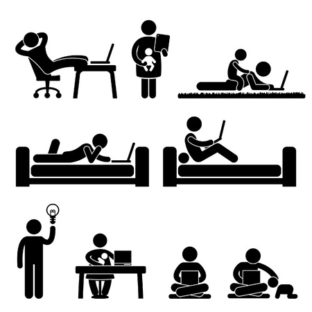 Illustration for Work From Home Office Freedom Lifestyle Stick Figure Pictogram Icon - Royalty Free Image