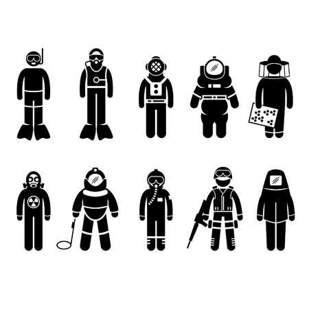 Illustration for Scuba Diving Dive Deep Sea Spacesuit Biohazard Beekeeper Nuclear Bomb Airforce SWAT Volcano Protective Suit Gear Uniform Wear Stick Figure Pictogram Icon - Royalty Free Image
