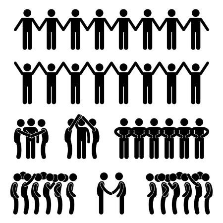 Illustration for Man People United Unity Community Holding Hand Stick Figure Pictogram Icon - Royalty Free Image