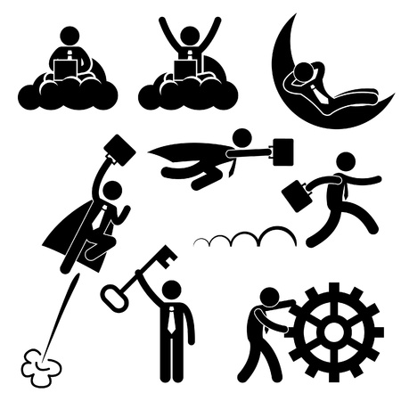 Illustration for Business Businessman Working Concept Successful Relaxing Happy Stick Figure Pictogram Icon - Royalty Free Image