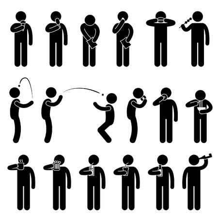 Illustration pour Man People Eating Tasting Food and Drink Stick Figure Pictogram Icon - image libre de droit