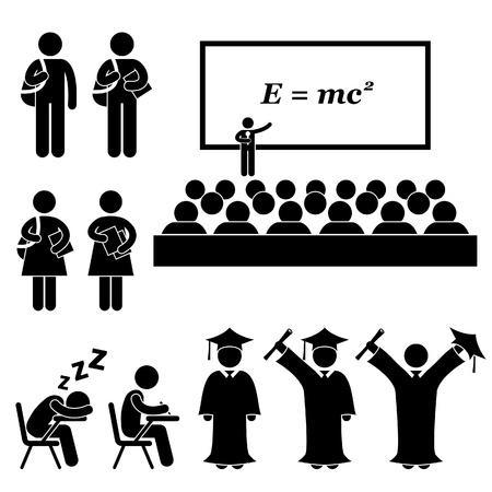 Illustration for Student Lecturer Teacher School College University Graduate Graduation Stick Figure Pictogram Icon - Royalty Free Image