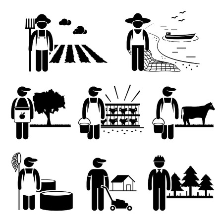 Illustration for Agriculture Plantation Farming Poultry Fishery Jobs Occupations Careers - Farmer, Fisherman, Livestock, Gardener, Forestry - Stick Figure Pictogram - Royalty Free Image
