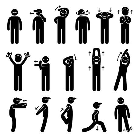 Ilustración de Body Stretching Exercise Stick Figure Pictogram Icon - Imagen libre de derechos