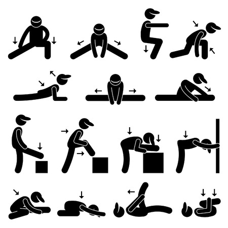 Ilustración de Body Stretching Exercise Stick Figure Pictogram Icon - Imagen libre de derechos