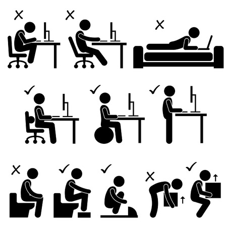 Illustrazione per Good and Bad Human Body Posture Stick Figure Pictogram Icon - Immagini Royalty Free