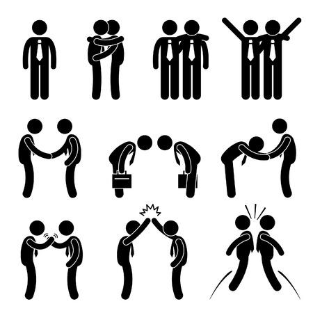 Illustration pour Business Manner Greetings Gesture Stick Figure Pictogram Icon - image libre de droit