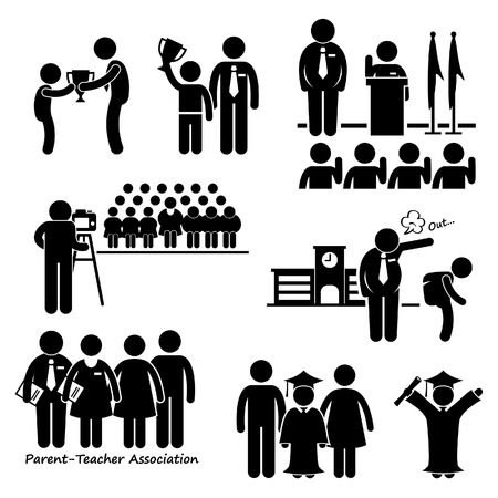 Illustration pour School Events - Award, Assembly Pledge, Photo Session, Expel, Parent Teacher Association Meeting, Student Graduation - Stick Figure Pictogram Icon Clipart - image libre de droit
