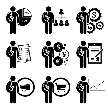 Illustration pour Student Degree in Business Management - Analysis, Human Resources, Financial Engineering, Accounting, Currency, Law, Marketing, Commerce, Economic - Stick Figure Pictogram Icon Clipart - image libre de droit