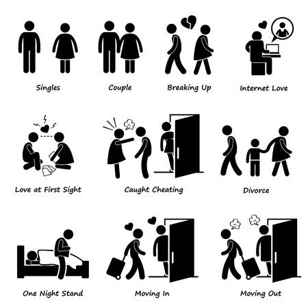 Illustration for Couple Boyfriend Girlfriend Love Stick Figure Pictogram Icon Cliparts - Royalty Free Image