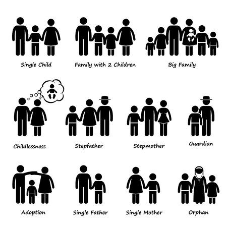 Illustration pour Family Size and Type of Relationship Stick Figure Pictogram Icon Cliparts - image libre de droit