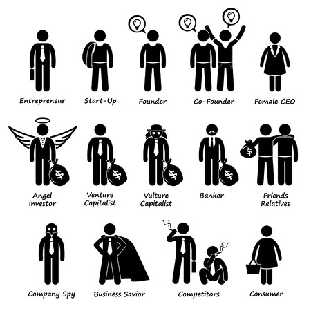 Illustration pour Business Entrepreneur Investors and Competitors Stick Figure Pictogram Icon Cliparts - image libre de droit