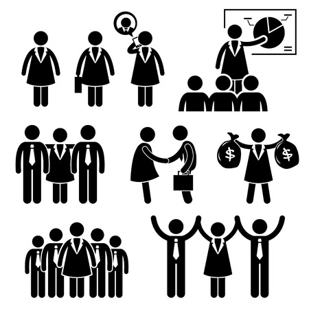 Illustration pour Businesswoman Female CEO Stick Figure Pictogram Icon Cliparts - image libre de droit