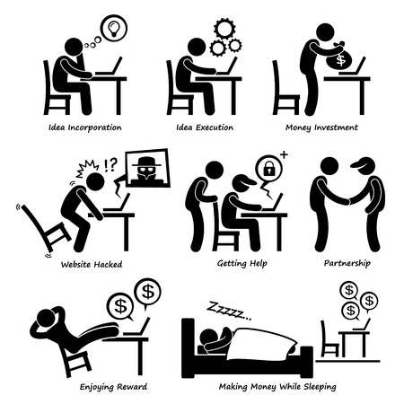 Illustration for Internet Business Online Process Stick Figure Pictogram Icon Cliparts - Royalty Free Image