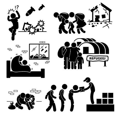 Ilustración de Refugees Evacuee War Stick Figure Pictogram Icons - Imagen libre de derechos