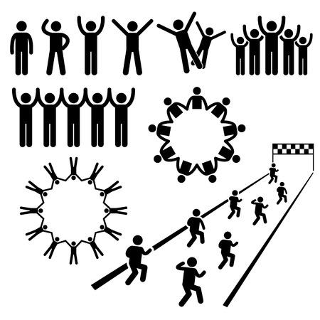 Ilustración de People Community Welfare Stick Figure Pictogram Icons - Imagen libre de derechos