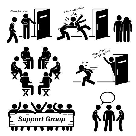 Illustration pour Support Group Meeting Stick Figure Pictogram Icons - image libre de droit