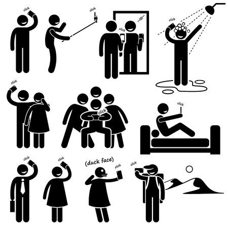 Illustration pour Selfie Stick Figure Pictogram Icons - image libre de droit