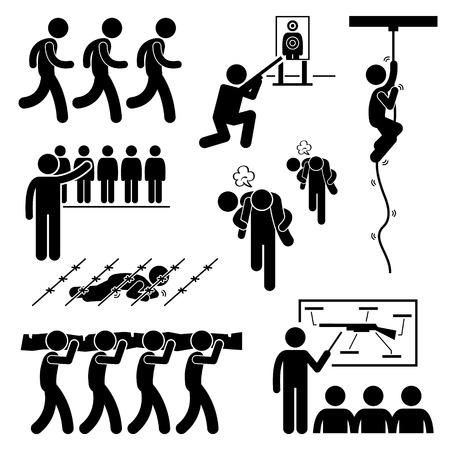 Illustration pour Soldier Military Training Workout National Duty Services Stick Figure Pictogram Icons - image libre de droit