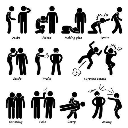Illustration pour Human Man Action Emotion Stick Figure Pictogram Icons - image libre de droit