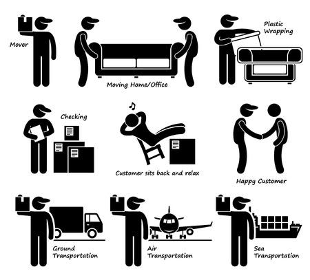 Illustration pour Mover Services Moving House Office Goods Logistic Stick Figure Pictogram Icon - image libre de droit