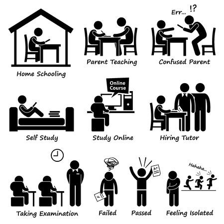 Illustration pour Homeschooling Home School Education Stick Figure Pictogram Icons - image libre de droit