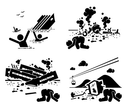 Ilustración de Disaster Accident Tragedy of Sinking Ship, Airplane Crash, Train Wreck, and Falling Cable Car Stick Figure Pictogram Icons - Imagen libre de derechos